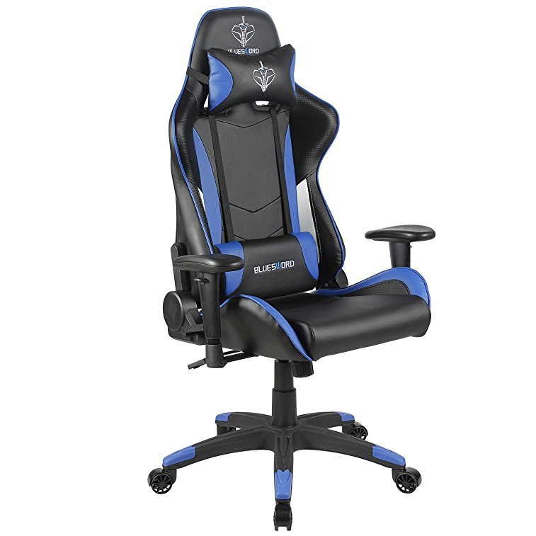 Admirable Blue Sword Carbon Fiber Gaming Chair Large Size Racing Style High Back Adjustment Office Chair With Lumbar Support And Headrest Whiteblue Caraccident5 Cool Chair Designs And Ideas Caraccident5Info