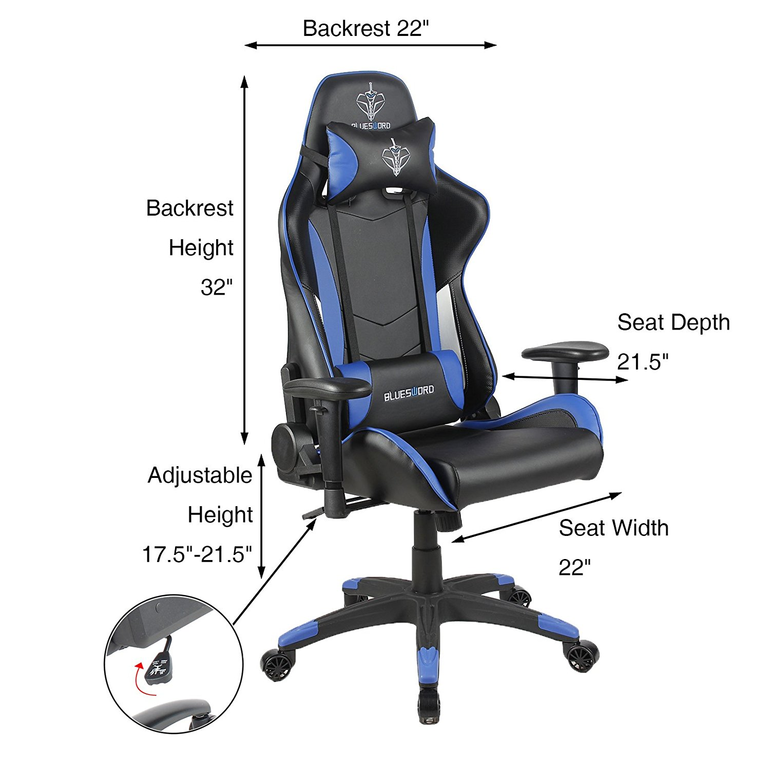 Fine Blue Sword Carbon Fiber Gaming Chair Large Size Racing Style High Back Adjustment Office Chair With Lumbar Support And Headrest Whiteblue Theyellowbook Wood Chair Design Ideas Theyellowbookinfo